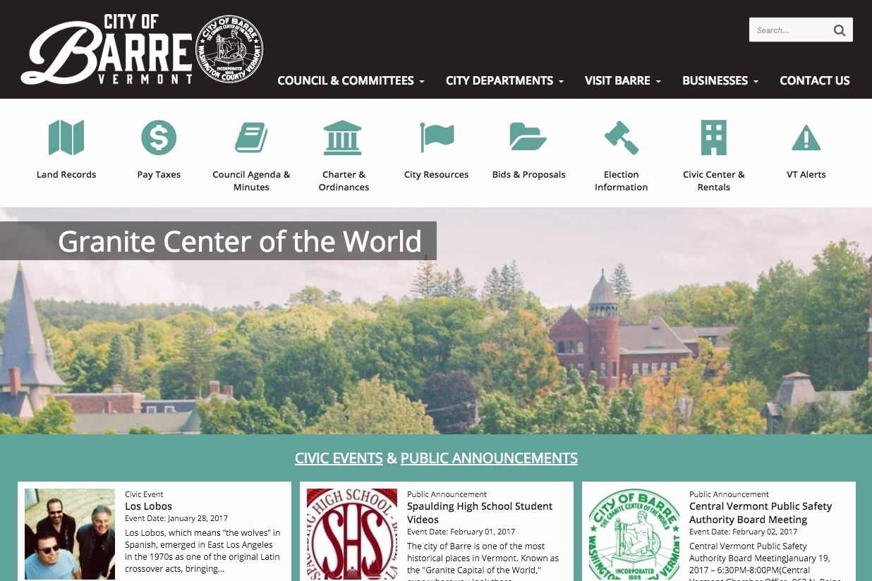 New website launch: City of Barre, Vermont
